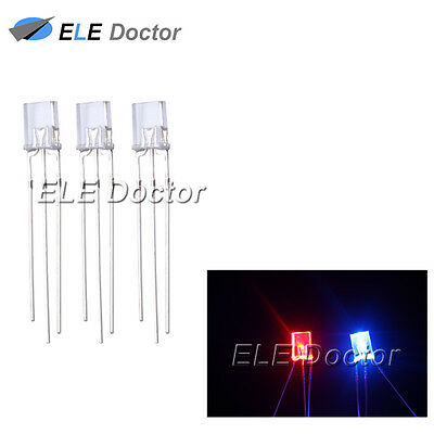 100 2x3x4mm Common Cathode Diffused Bi-Color Red Blue Rectangular Led Diodes