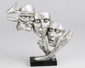 720900-sculpture-objet-de-decoration-masque-37cm-noir-argent-sur-socle-en