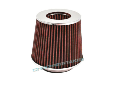 """RED UNIVERSAL 2.5/"""" 63.5mm DRY AIR FILTER FOR VOLVO//JAGUAR SHORT//COLD AIR INTAKE"""