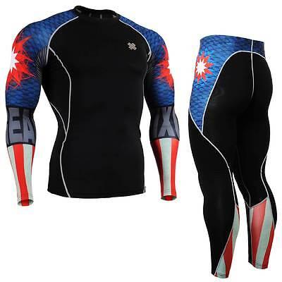 FIXGEAR CPD/P2L-B37 SET Compression Shirts & Pants Skin-tight MMA Training Gym