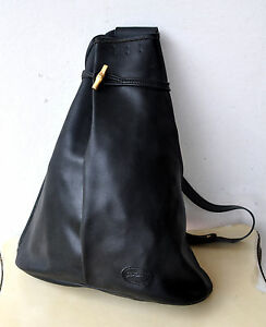 f53577f0fc Longchamp Paris Large Black Leather Sling Bag Single Strap Backpack ...