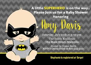 Image Is Loading Batman Superhero Baby Shower Invitation