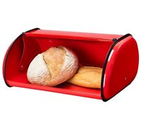 Bread Boxes For Kitchen Vintage Roll Top Red Food Storage Container Bun