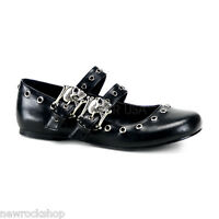 Demonia Daisy-03 Black Vegan Leather Double Strap Skull Mary Jane Ballet Shoes