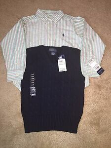 94d1cf8c036f LOT 2 POLO RALPH LAUREN TODDLER BOY BOYS BUTTON FRONT SHIRT SWEATER ...