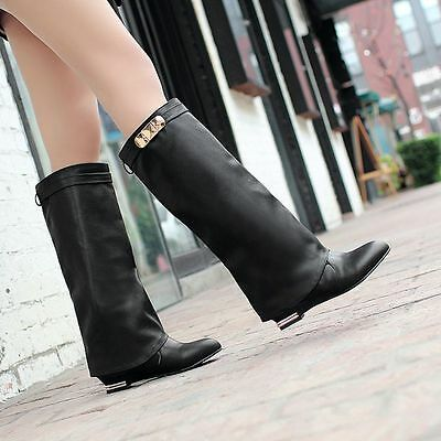 Womens Fashion Metal Pull On Knight Knee High Riding Boots Shoes Plus Size 10