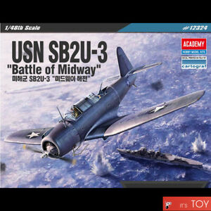 Academy-1-48-USN-SB2U-3-Battle-of-Midway-US-Dive-Bomber-Plastic-model-kit-12324