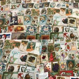 Huge-Lot-of-400-Holidays-Greetings-Postcards-DAMAGED-SCRAPBOOK-CRAFTS