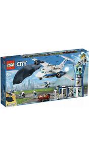 Lego-City-Sky-Police-Base-Aerienne-Tour-jouet-avion-et-voiture-60210-Boite-Endommagee