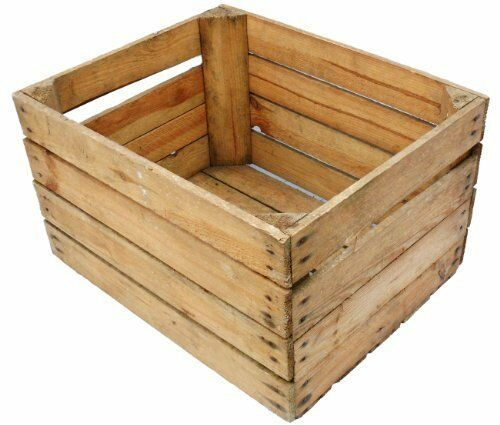 EUROPEAN VINTAGE WOODEN APPLE FRUIT CRATES RUSTIC OLD BUSHEL BOX SHABBY CHIC