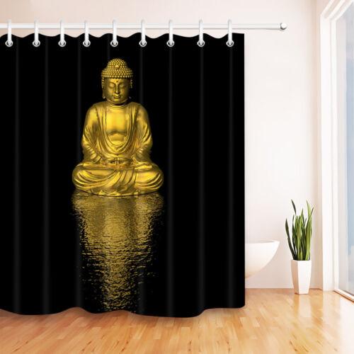Black /& Gold Buddha Statue Waterpoof Fabric Bathroom Shower Curtain Liner Hooks