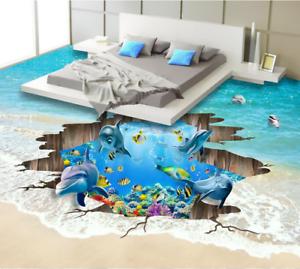 3D Cartoon Dolphins 4 Floor WallPaper Murals Wall Print 5D AJ WALLPAPER UK Lemon