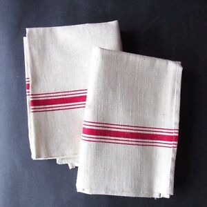 VTG French Cottage 2 Metis Linen Country Christmas Red TEA TOWELS