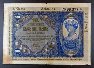 1927-Austria-Donaustaat-100-Kronen-Lottery-Overprint-P-S154b