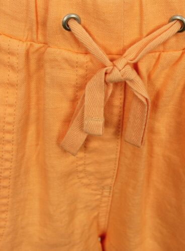 Brand New Ex Marks and Spencer Orange Linen Roll Up Shorts size 8-18