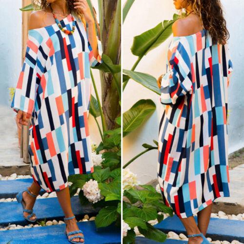 Womens Holiday Off Shoulder Bardot Long Sleeve Printed Check Loose Long Dress