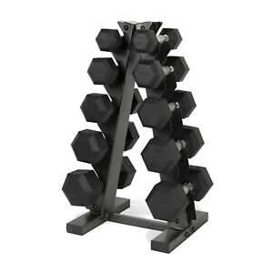 Black-A-Frame-Dumbbell-Rack-11-lbs-Rubber-Coated-Home-Gym-Organizer-Storage
