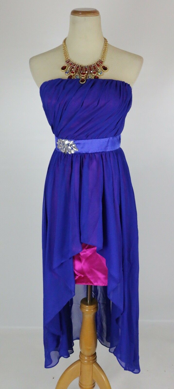 NEW Hailey Logan  Evening Prom Formal Royal Low-High Strapless Dress size 5