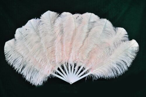 Blush A pair Single layer Ostrich Feather fans with Travel leather Bag