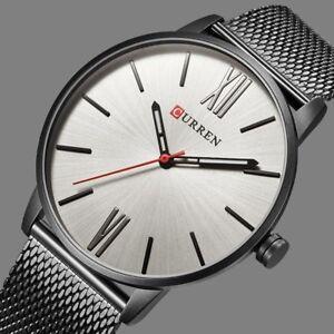 Curren-Casual-Watches-Men-039-s-Sport-Wrist-Watch-Quartz-Stainless-Steel-Mesh-Band
