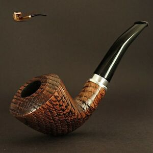 Exclusive-Sandblasted-Wooden-TOBACCO-SMOKING-PIPE-OAK-TREE-no-21-Brown-LARGE