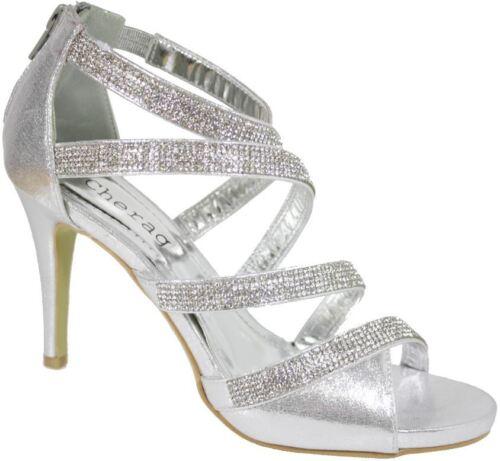 S380 UK 3-8 Ladies Diamante Bridal High heeled Party Evening Sandals