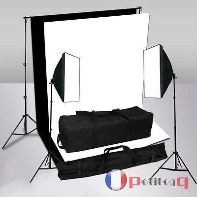 Kit d'éclairage Continu Studio 2x125W Softbox 2 Tissus de Fond Noir Blanc 1.6x3M