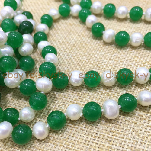 Charmant 7-8 mm naturel blanc culture perle /& vert jade collier 25-80/""