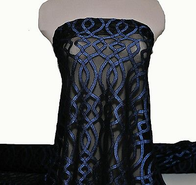 """STRETCH LACE FABRIC ROYAL//BLACK  58//60/""""  BY THE YARD //PAGEANT FORMAL DRESS"""