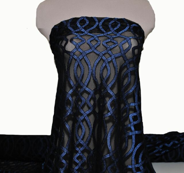 """STRETCH LACE FABRIC ROYAL/BLACK  58/60""""  BY THE YARD /PAGEANT FORMAL DRESS"""
