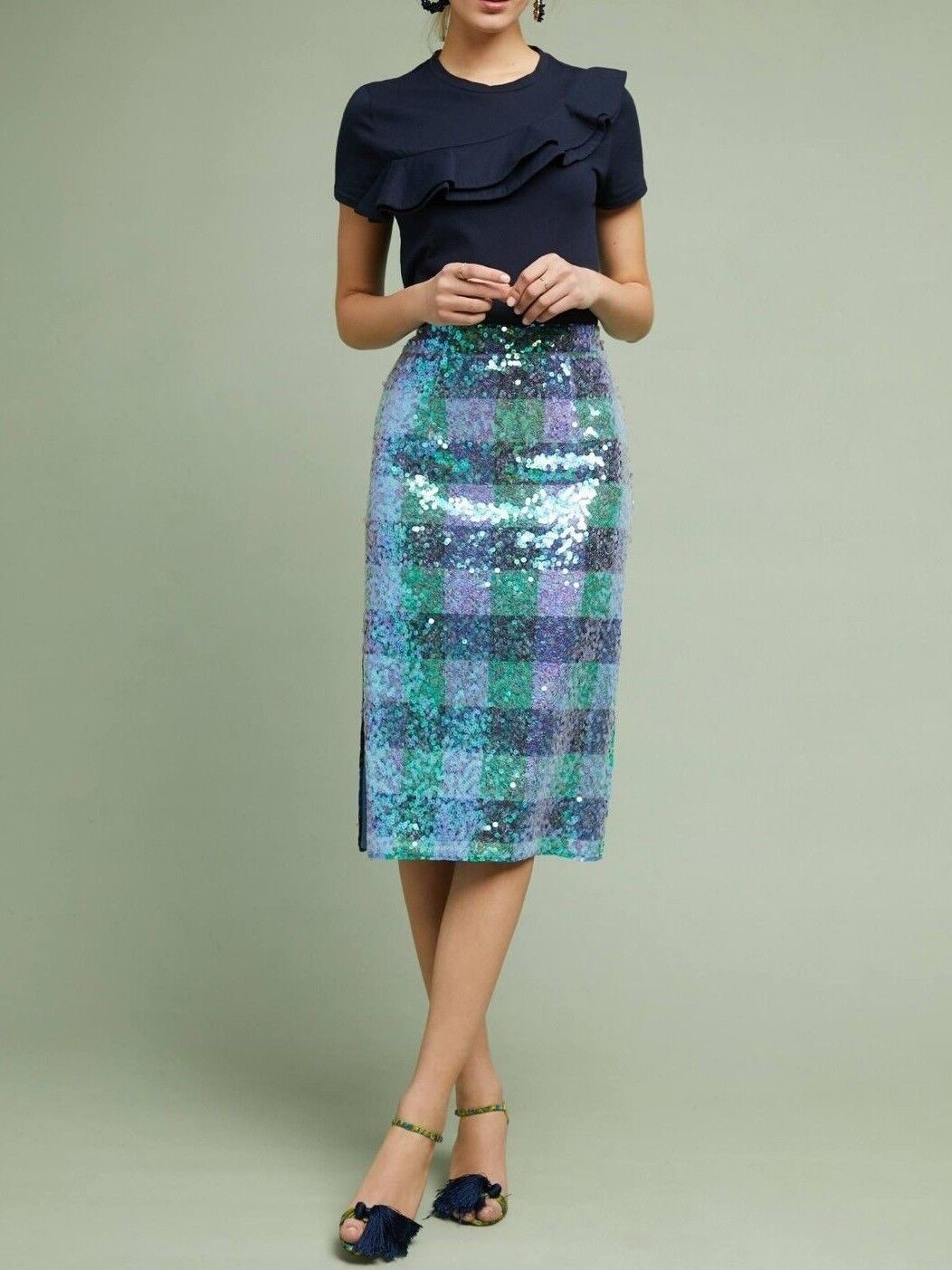 Anthropologie Sequined Palette Midi Skirt by Maeve - NWT