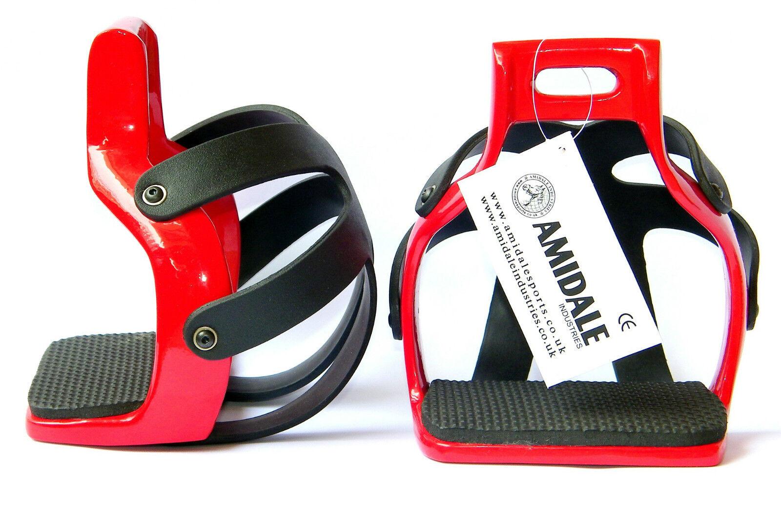 AMIDALE ALUMINIUM ENDURANCE FLEX RIDE CAGED SAFETY HORSE STIRRUPS RED COLOR