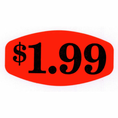 Price Labels $1.99 Red With  Black Imprint 1 3//8 L x 7//8 H 1000 Per Roll