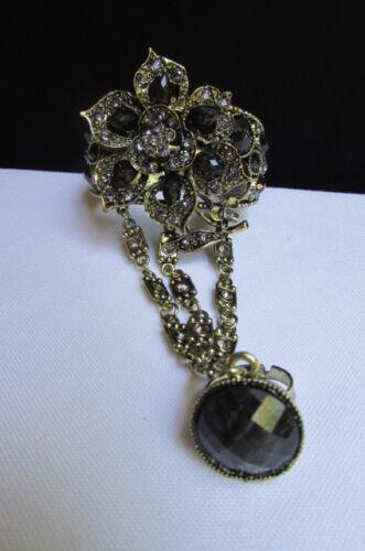Women Gold Cuff Bracelet Fashion Hand Jewelry Flower Black Brown Blue