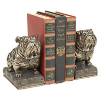 Stylized Art Deco Muscular Mascots Bulldogs Faux Bronze Collectible Bookends