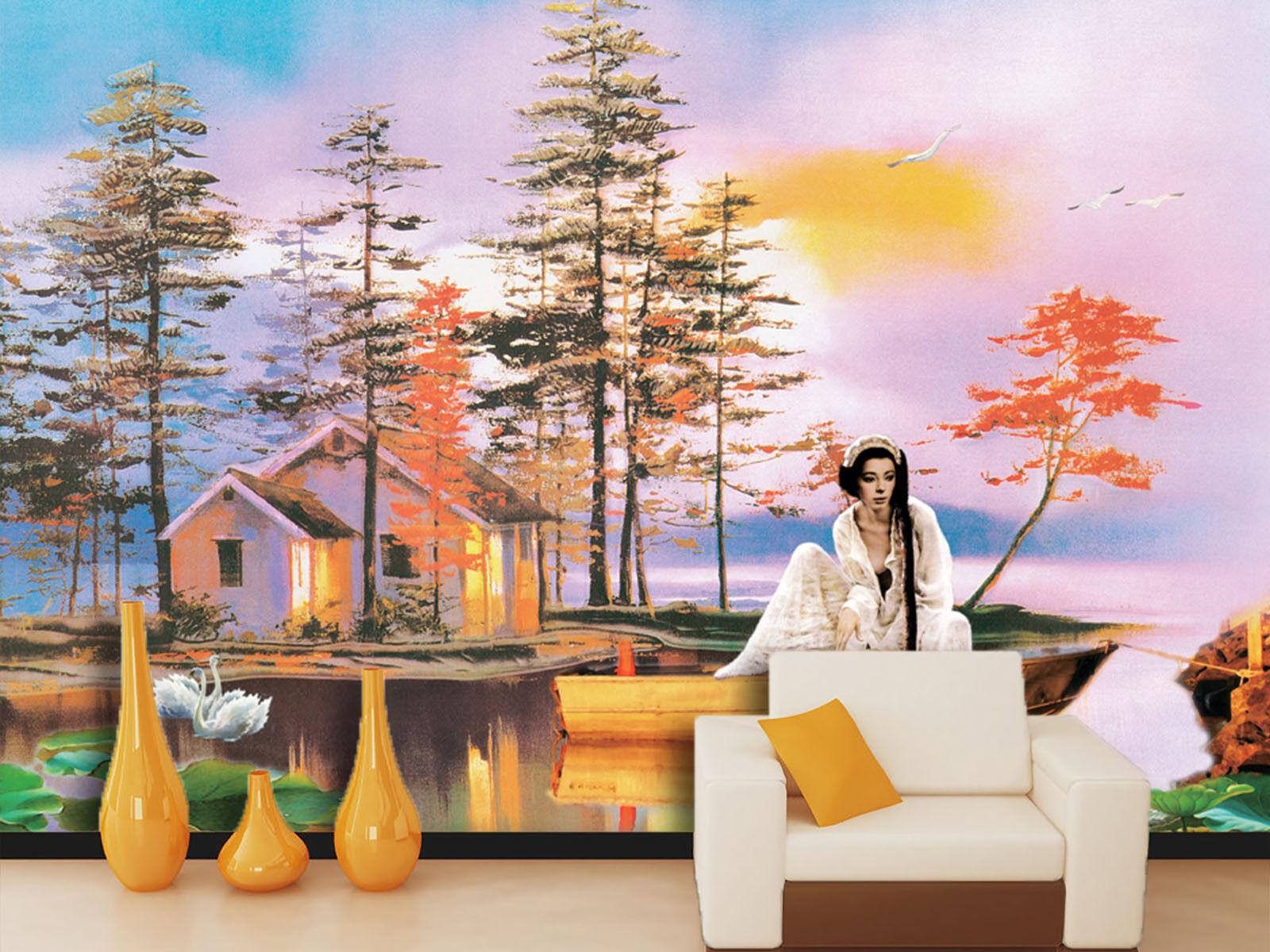 3D Frau Landschaft 74 Tapete Wandgemälde Tapete Tapeten Bild Familie DE Summer