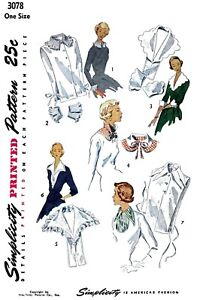 Simplicity-Pattern-3078-Dickey-Collar-amp-Cuffs-Fabric-Sewing-Patterns-Vintage