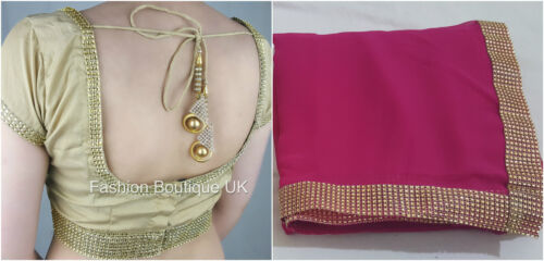 Sari saree with blouse pré plissé attached petticoat indian bollywood designer