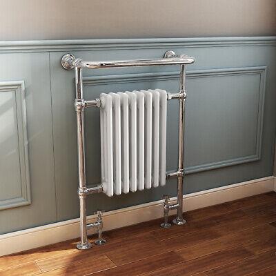 Traditional Bathroom Heated Towel Rail Column Radiator White & Chrome 940x659mm