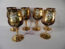 6 Bohemian Gold Gilt Wine Glasses Amethyst Purple Enamel Flowers Antique Czech