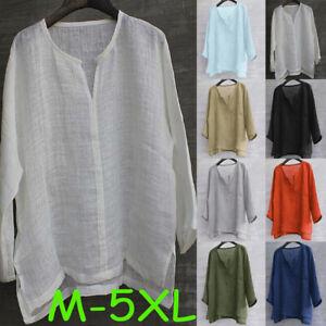 Para-Hombres-Color-solido-breve-Transpirable-comoda-mangas-largas-blusa-suelta-casual-T-Shirt