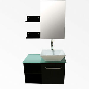 Image is loading 28-Modern-Bathroom-Vanity-Cabinet-Wood-Vessel-Sink-  sc 1 st  eBay & 28u201d Modern Bathroom Vanity Cabinet Wood Vessel Sink w/ Mirror Faucet ...