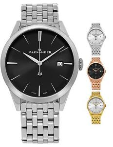 Alexander Men's Swiss Made Dress Watch Sunburst Dial Stainless Steel Bracelet