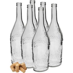 6-x-500-ml-Flasche-mit-Kork-Glasflasche