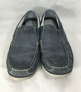 G-H-Bass-Starboard-Deck-Shoes-Blue-Leather-Mens-10M-Loafers-Slip-Ons-Boat