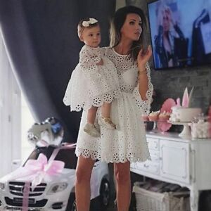 a52c414149 Image is loading Mother-Daughter-Matching-Dresses-Women-Kids-Girl-Lace-