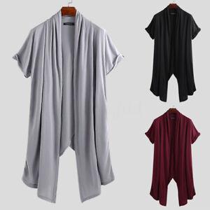 Mens-Open-Front-Cape-Long-Tops-Coat-Jacket-Casual-Loose-Fit-Knee-Length-Cardigan