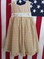 Girl's B T Kids Pink And Green Gingham Dress With Tags Size 5