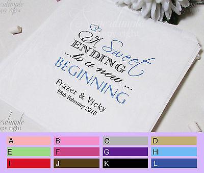 Personalised White Paper Bag Matrimonio Amore Cuore Dolce Inizio Candy Cart Sb61c-
