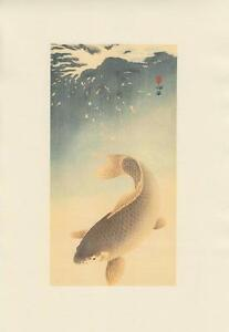 Japanese Reproduction Woodblock Print 14 Ohara Koson on Cream Parchment Paper.